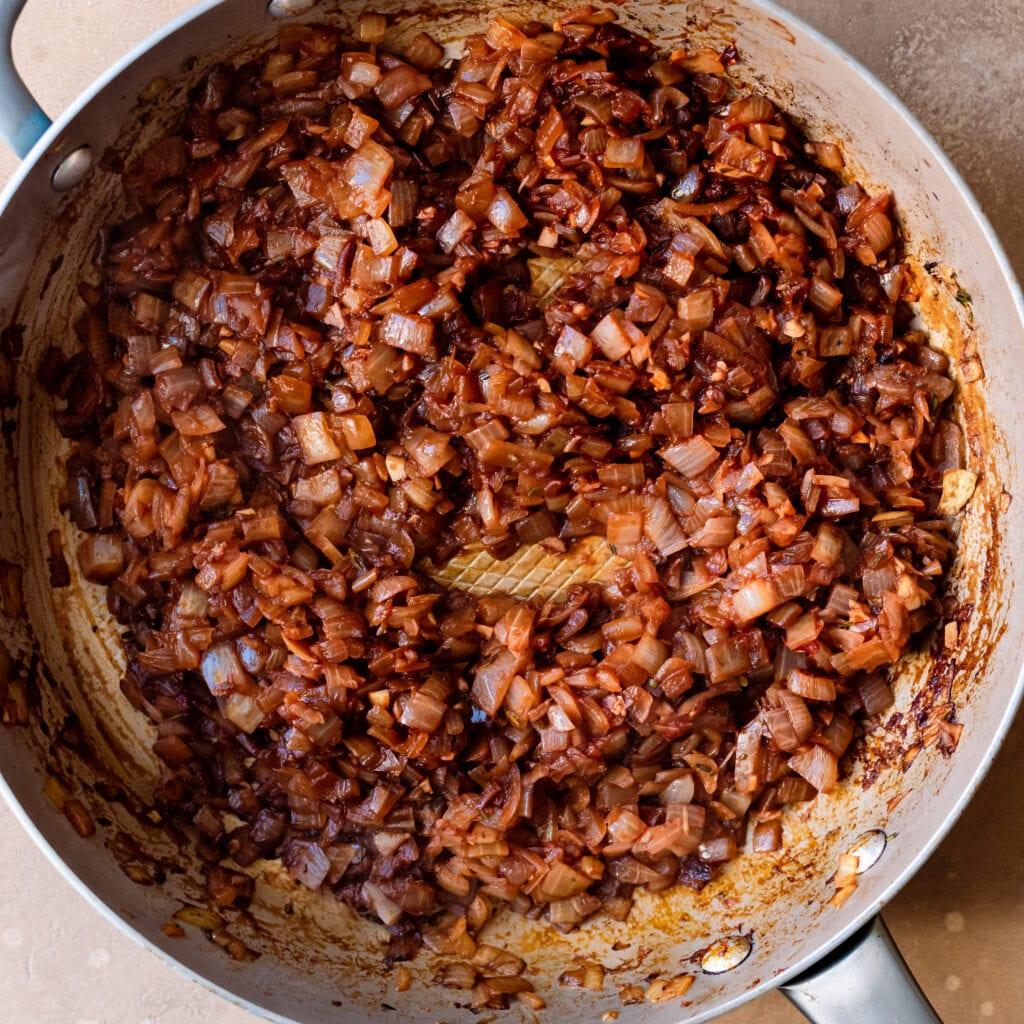 deglaze pan with red wine