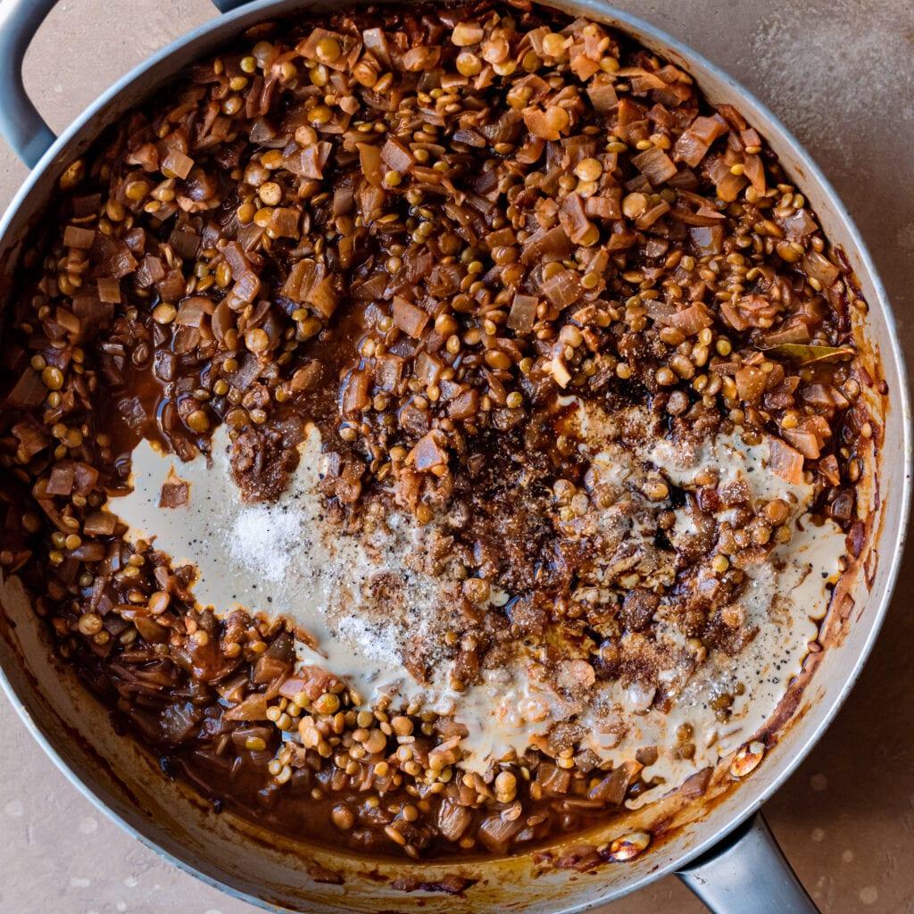 lentil filling with tahini, balsamic vinegar, tamari, and worcestershire sauce