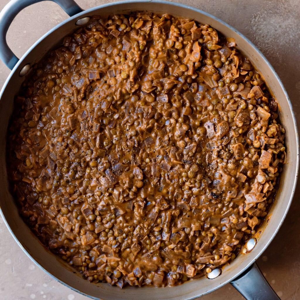 stirred lentil mixture