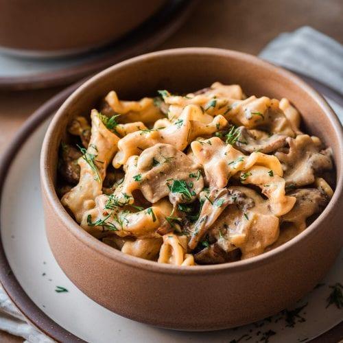 mushroom pasta in a bowl