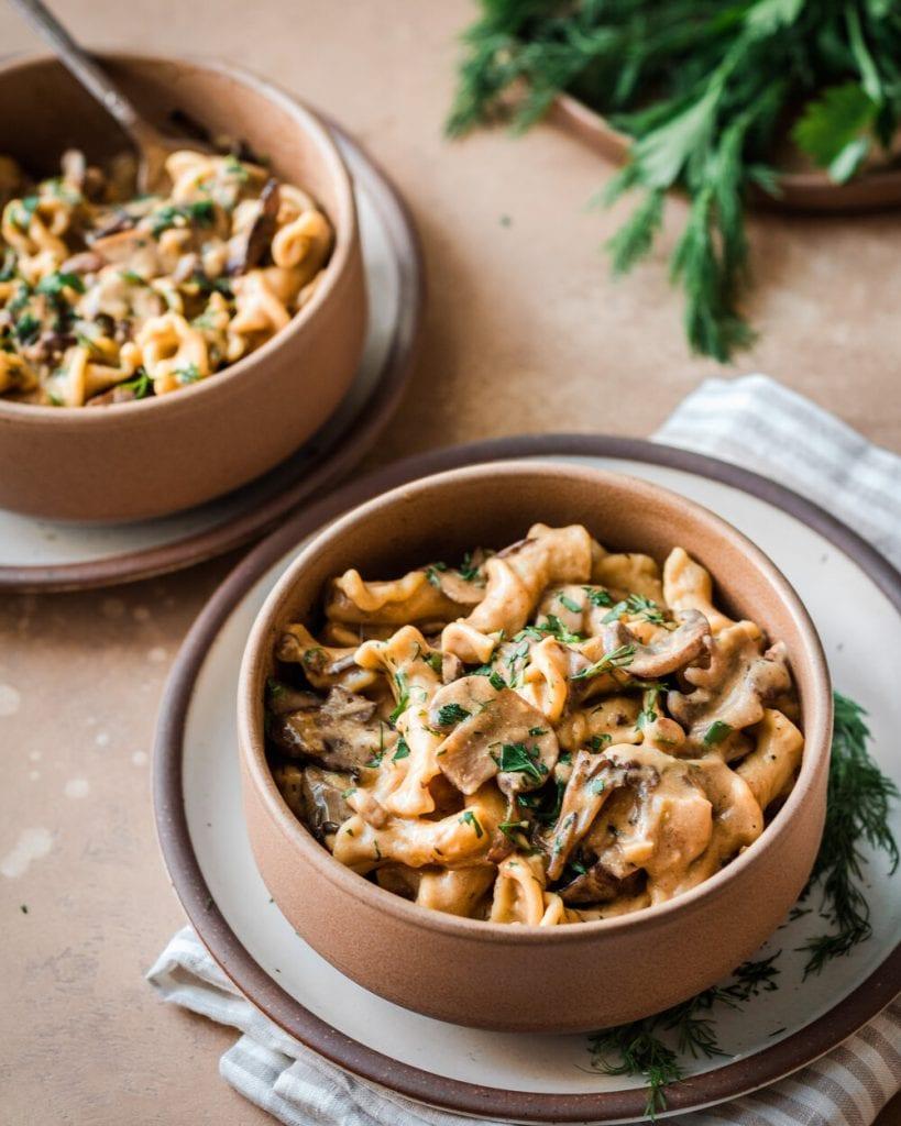 mushroom stroganoff in bowl