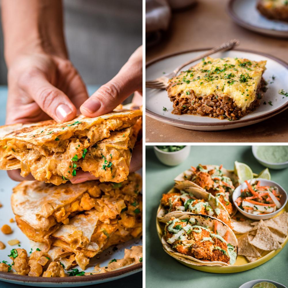 3 vegan dinner recipes for veganuary: quesadillas, shepherd's pie, tacos
