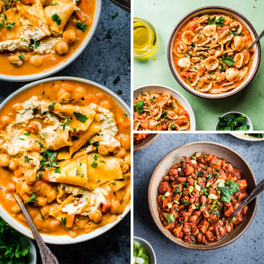 3 vegan recipes for veganuary: lasagna soup, white bean pasta stew, sweet potato chili