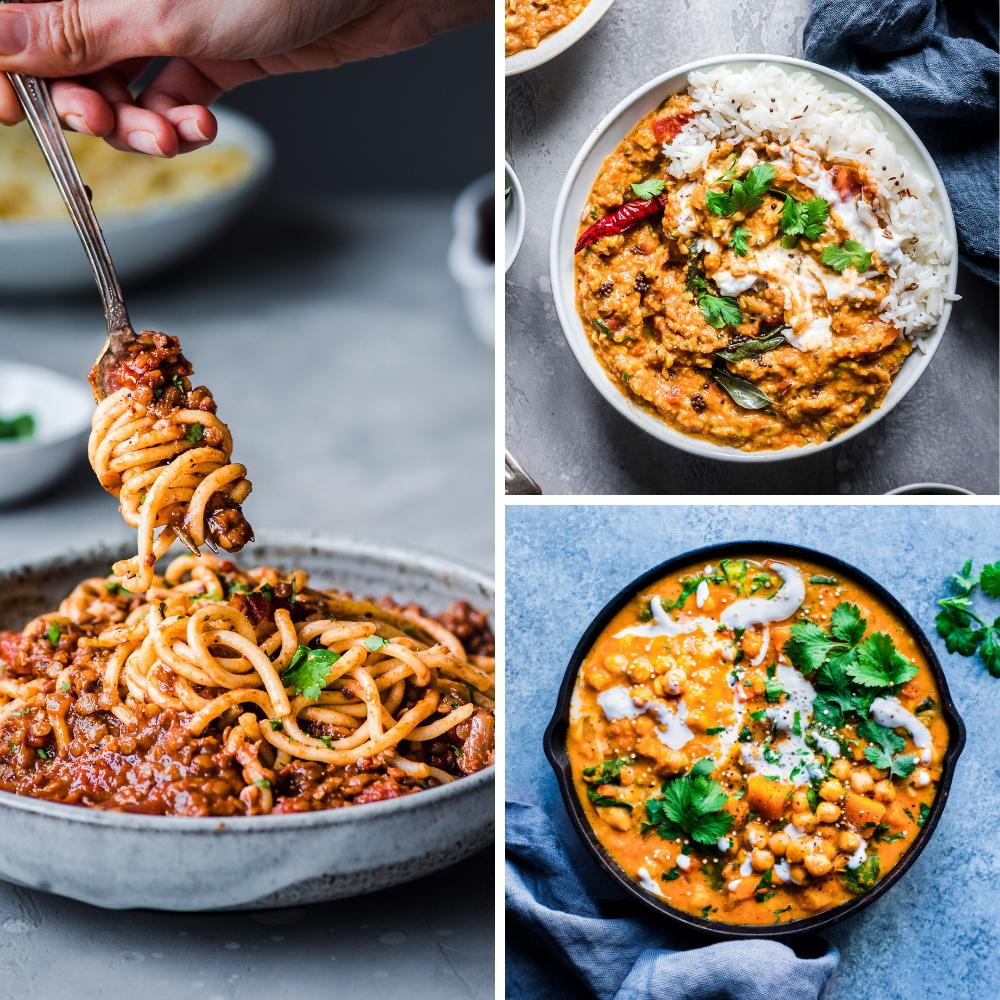 3 vegan recipes for veganuary - bolognese, dal, thai curry
