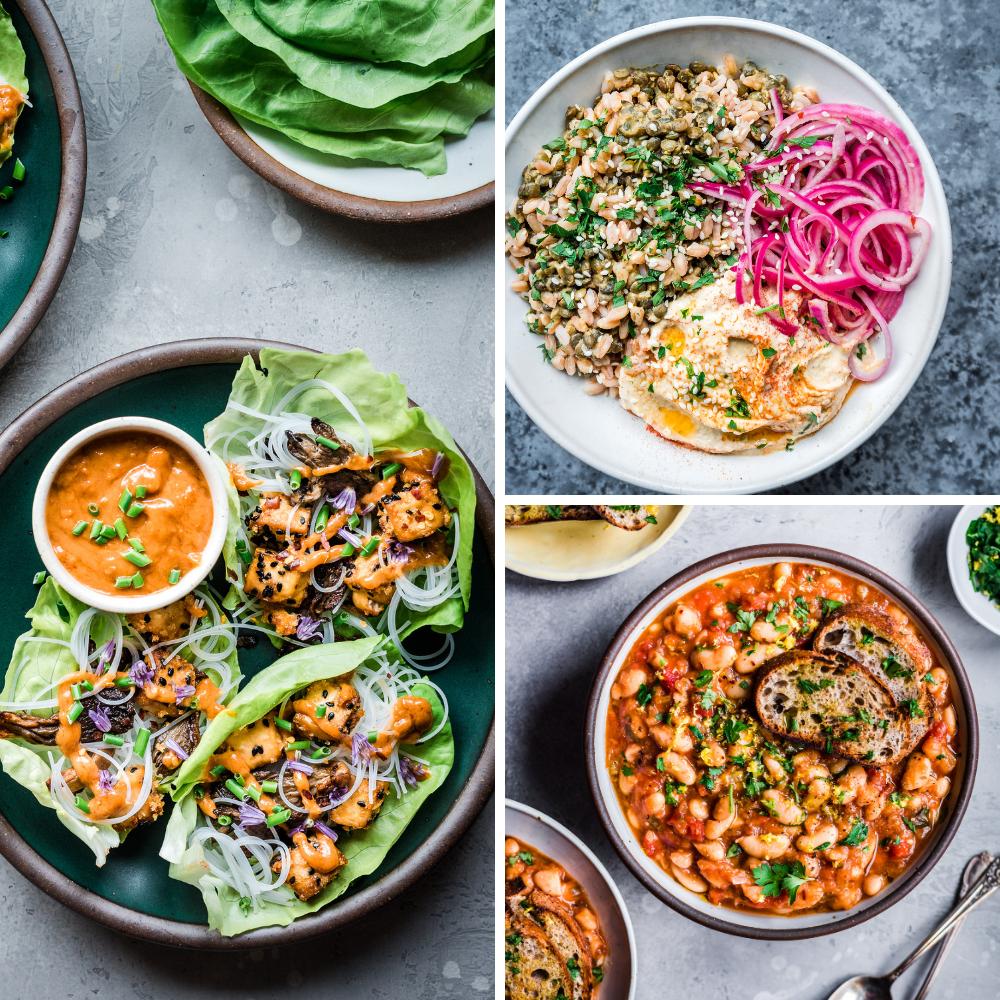 3 vegan recipes for veganuary: lettuce wraps, grain lentil bowls, white bean stew