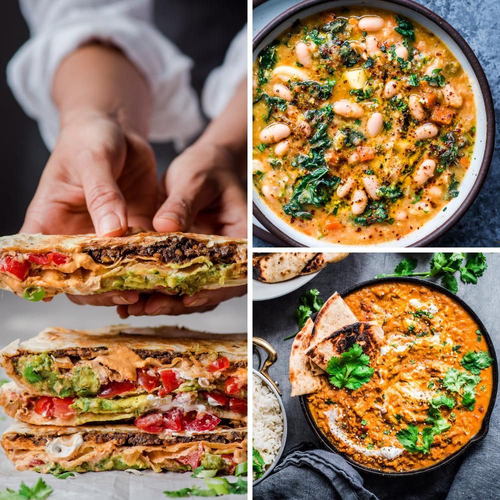 3 vegan recipes for veganuary: vegan crunchwrap supreme, white bean soup, red lentil curry