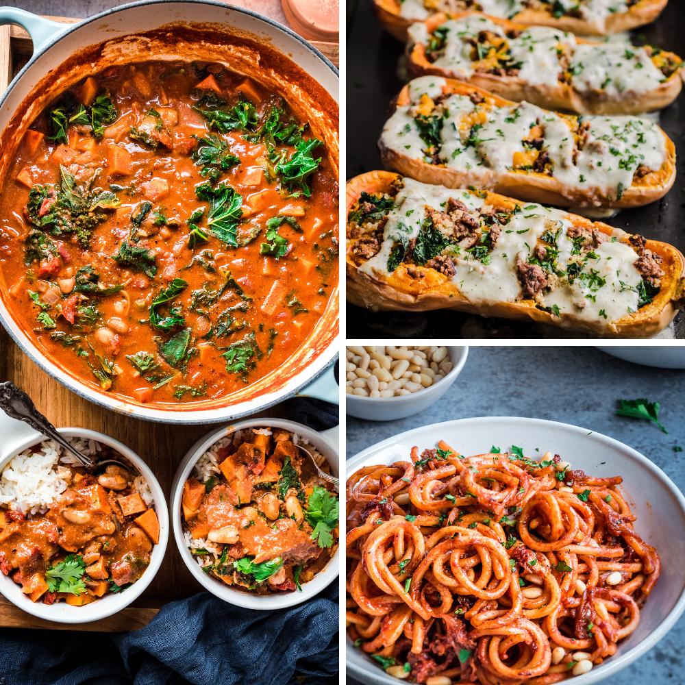 3 vegan recipes for veganuary: peanut stew, stuffed butternut squash, caramelized onion pasta
