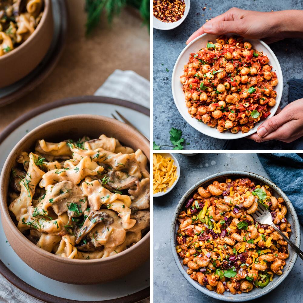 3 vegan recipes for veganuary: mushroom stroganoff, chana masala, one-pot chili mac