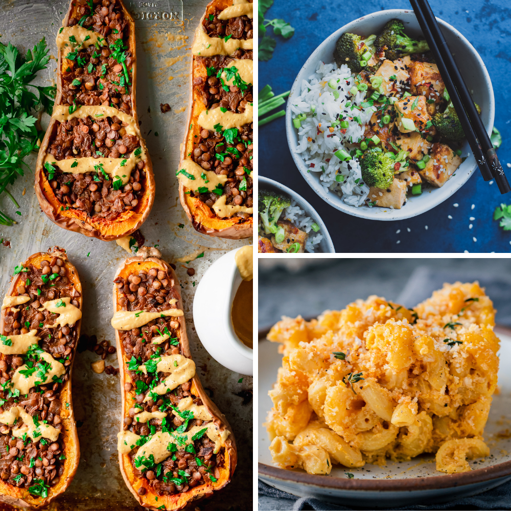 3 vegan recipes for veganuary: lentil stuffed squash, tofu and broccoli, baked mac and cheese