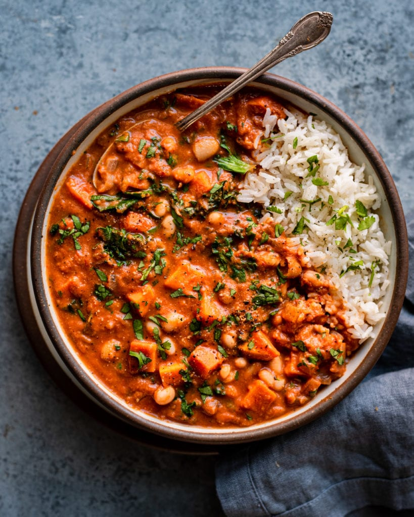 bowl of West African Peanut Stew served over white rice