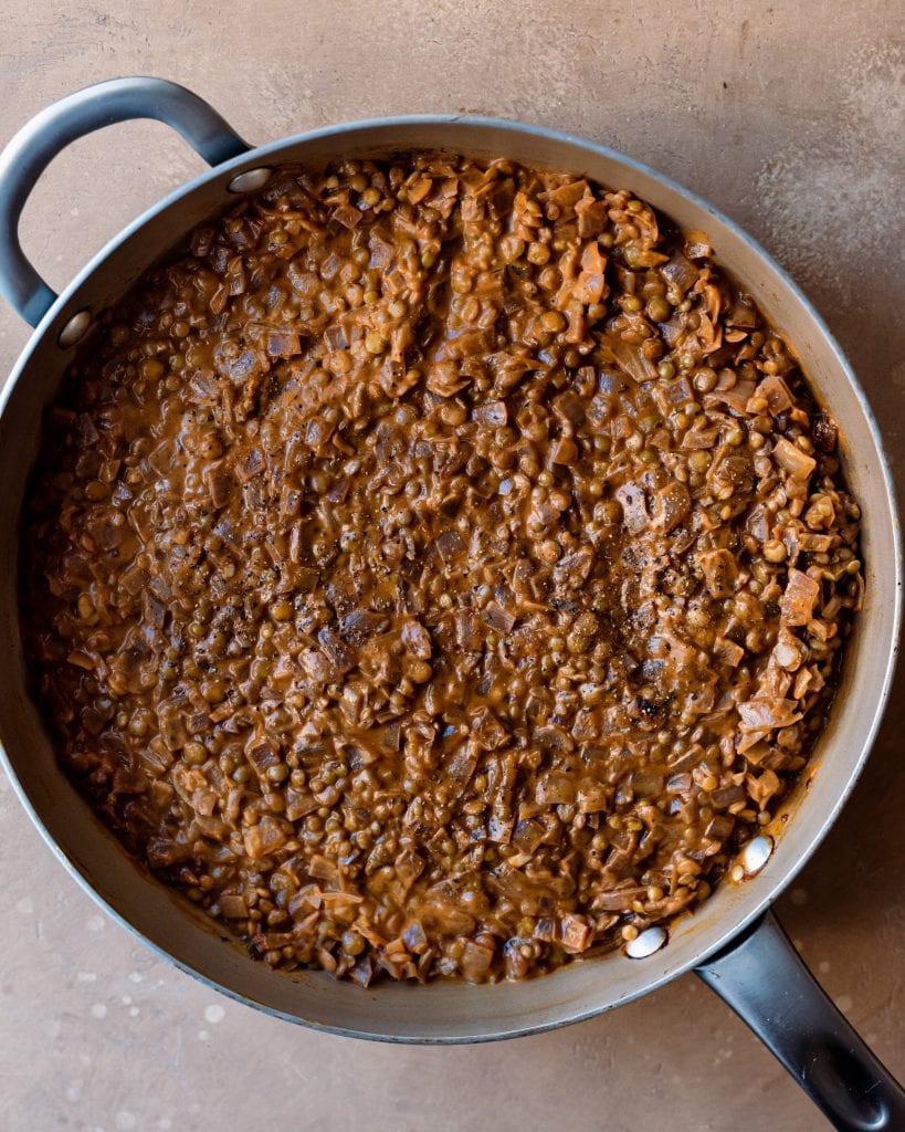 cooked lentil filling for shepherd's pie