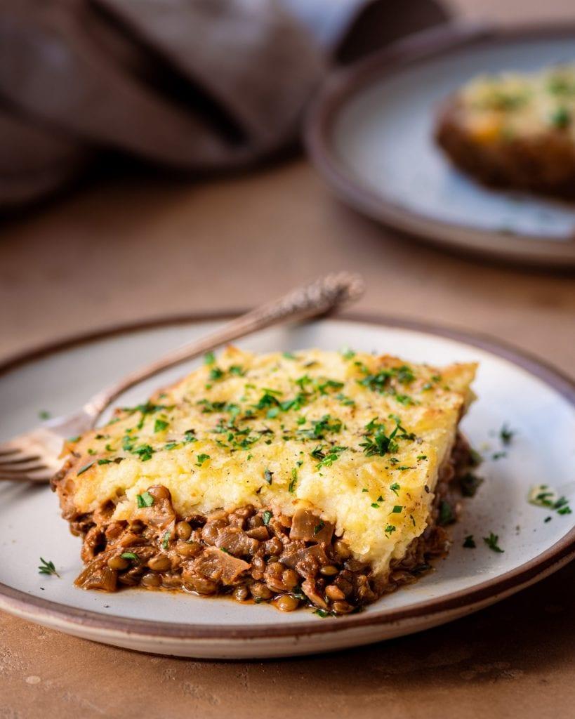 slice of vegan lentil shepherd's pie on plate