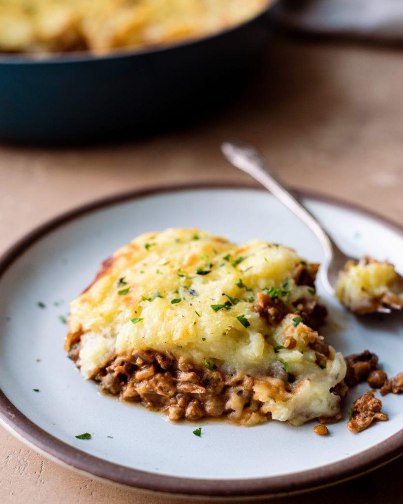 Healthy Vegan Shepherd's Pie scooped onto a plate