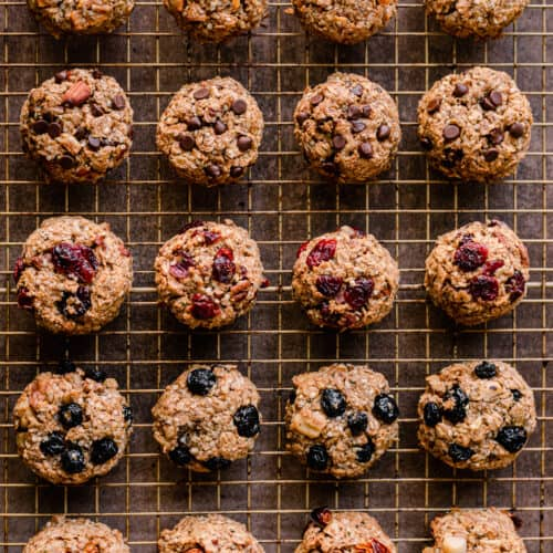 breakfast cookies with different mixins on a wire rack