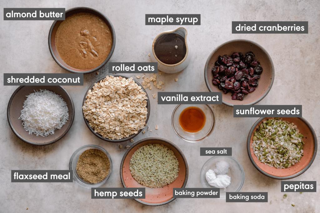 flat lay of vegan breakfast cookies ingredients