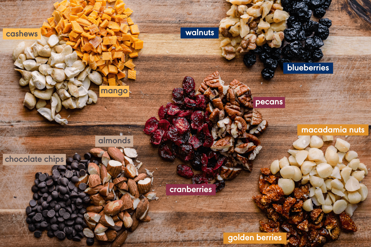 mix-ins for breakfast cookies with ingredients labeled