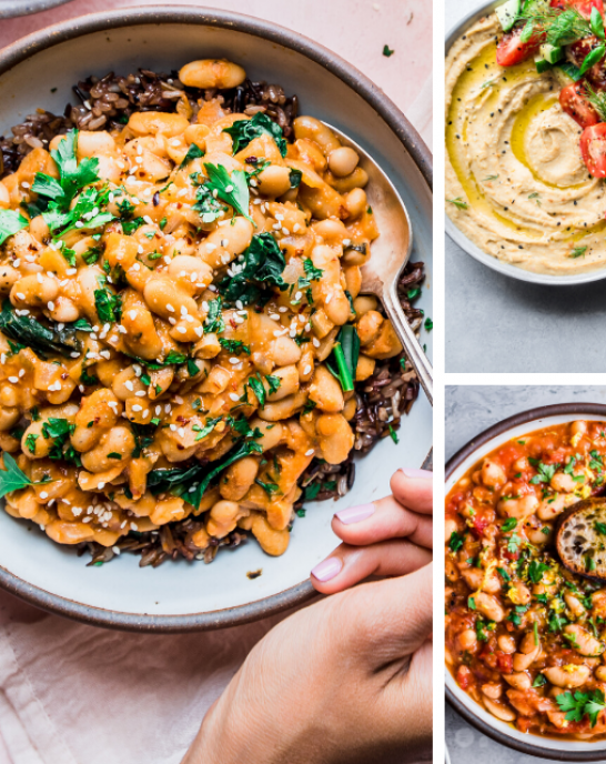 3 photos of bean dishes arranged on a grid