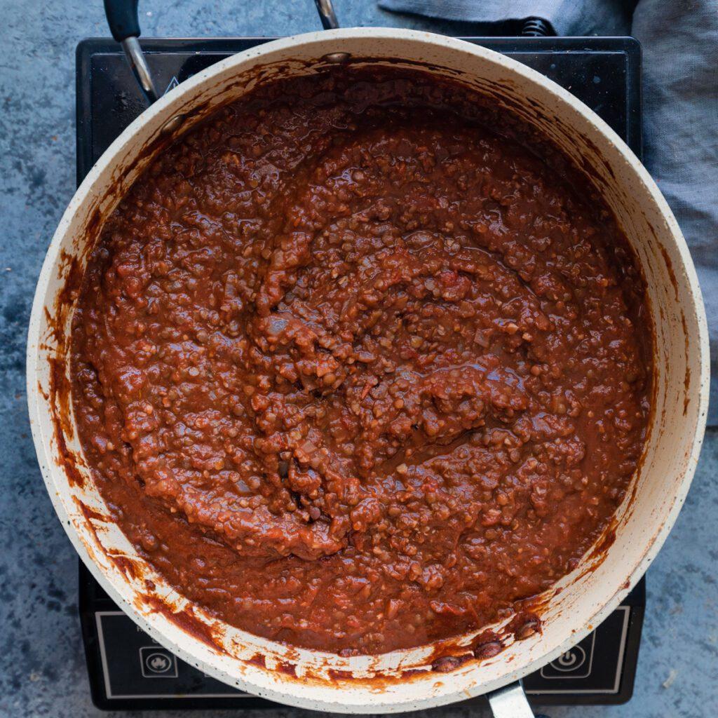 saute pan of lentil bolognese
