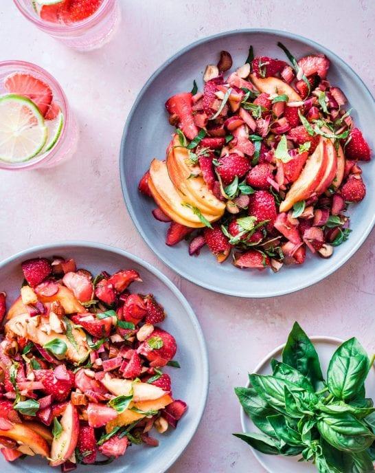 Healthy Vegan Strawberry Rhubarb Salad