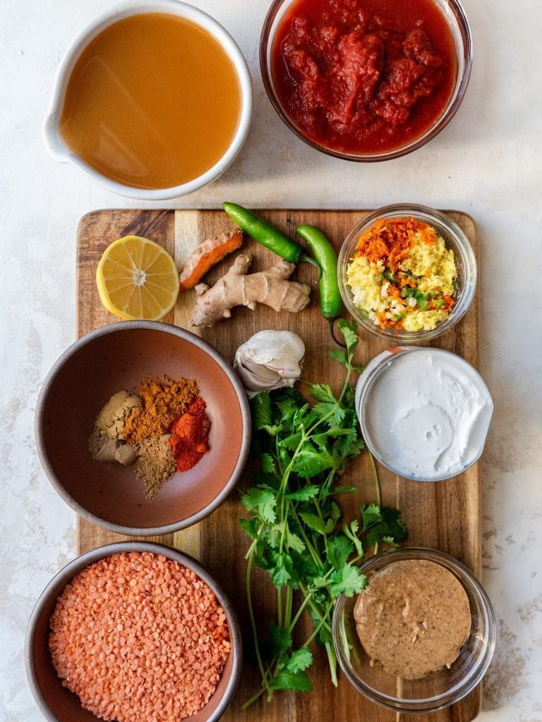 overhead shot of required ingredients for curry