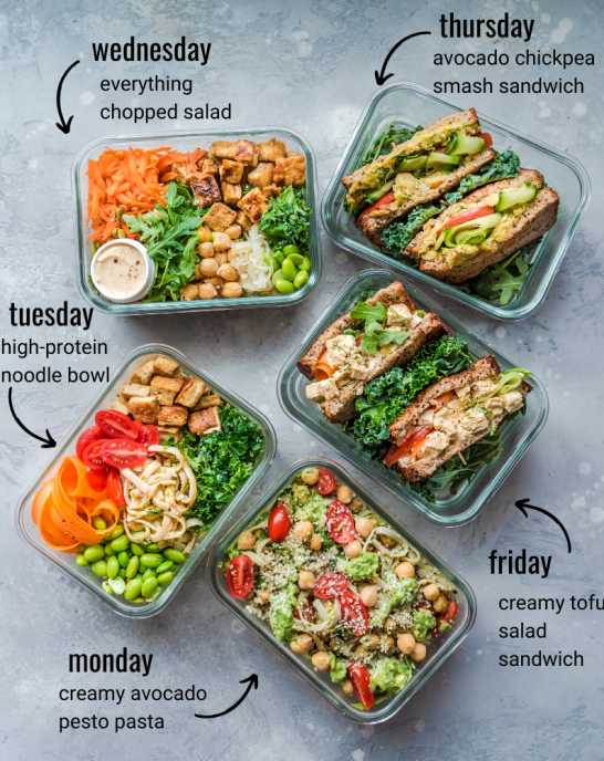 healthy vegan lunches for the week with text