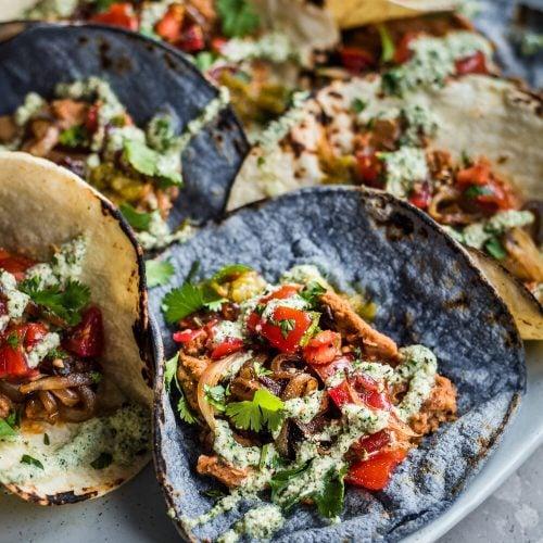 Easy Vegan Tacos with Smoky Cashew Crema