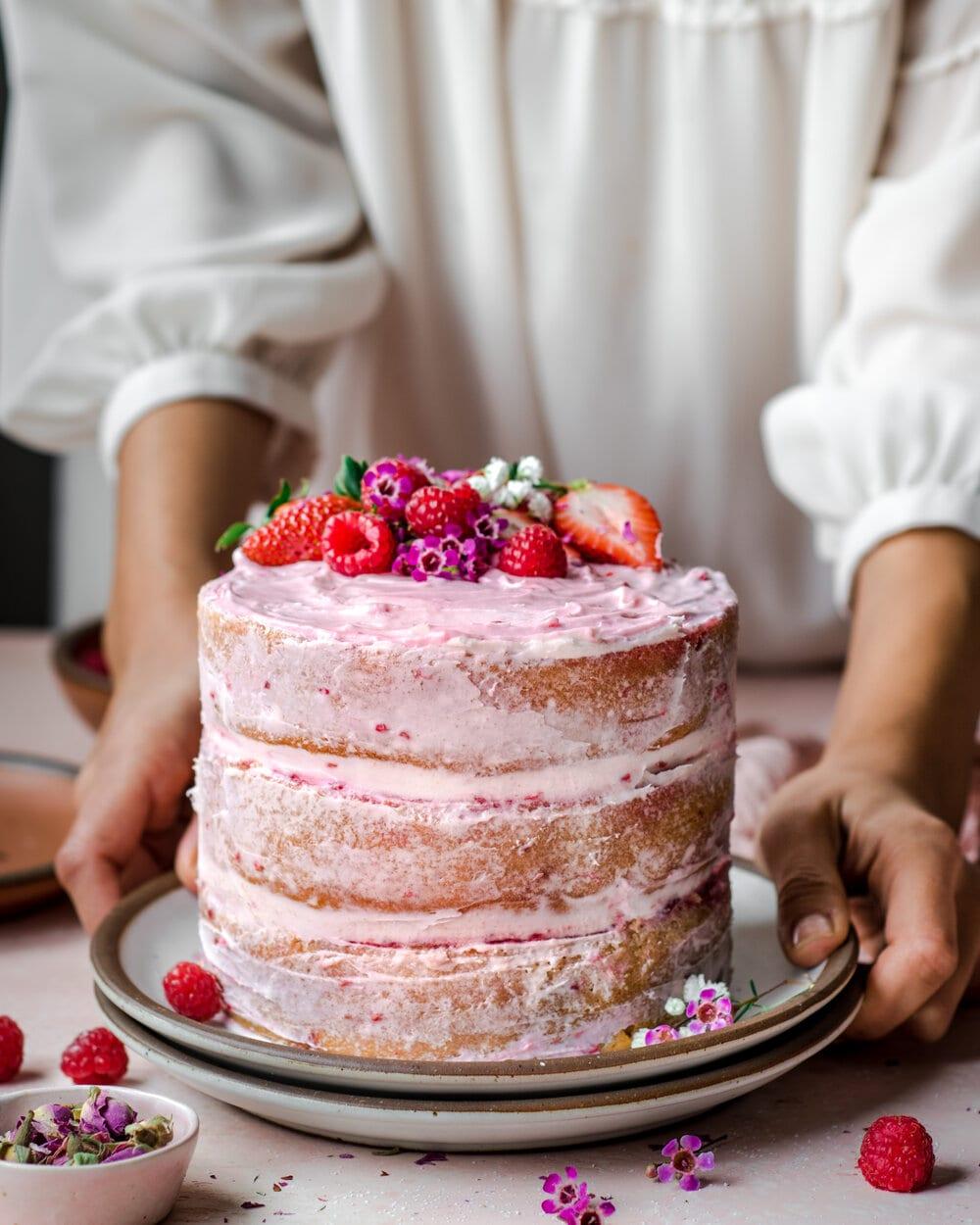 Vegan Vanilla Layer Cake with Raspberry Jam