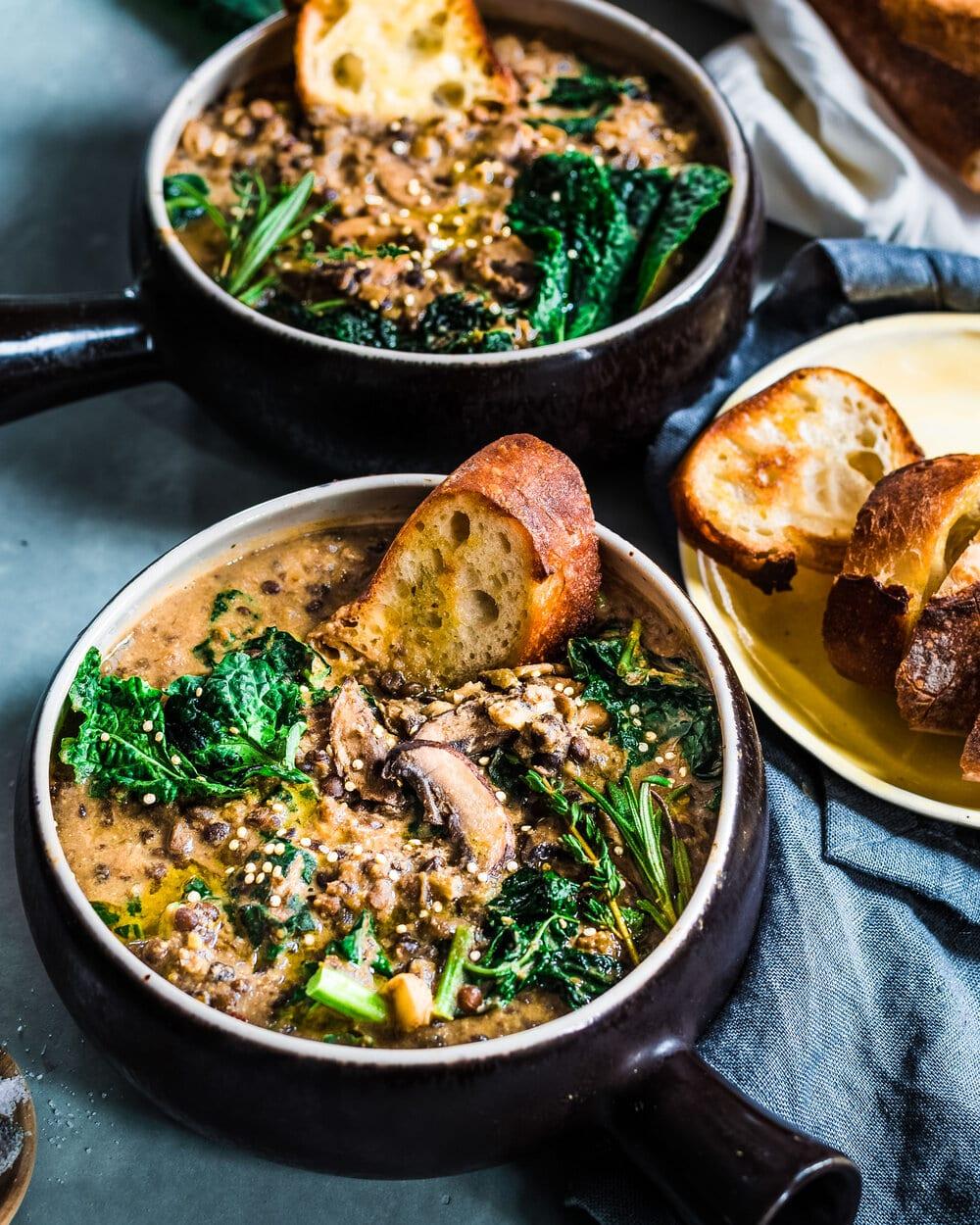 Creamy Mushroom and Black Beluga Lentil Stew