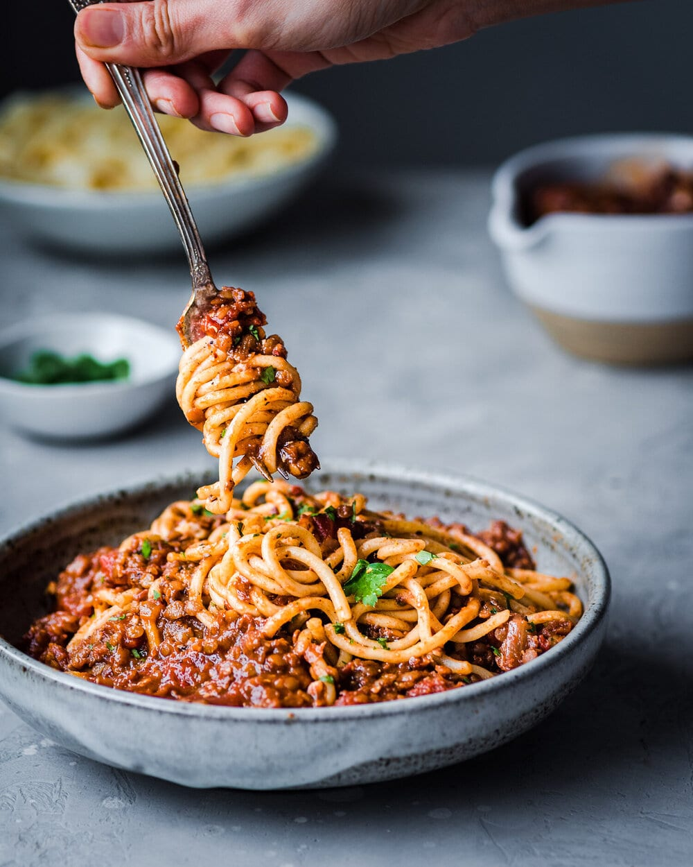 10 Easy Vegan Pasta Recipes. Vegan red lentil bolognese. bolognese food photography. pasta food photography