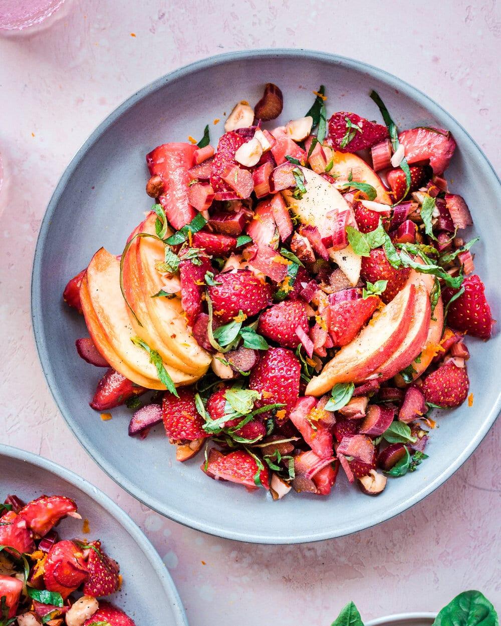 Healthy Summer Strawberry Rhubarb Salad