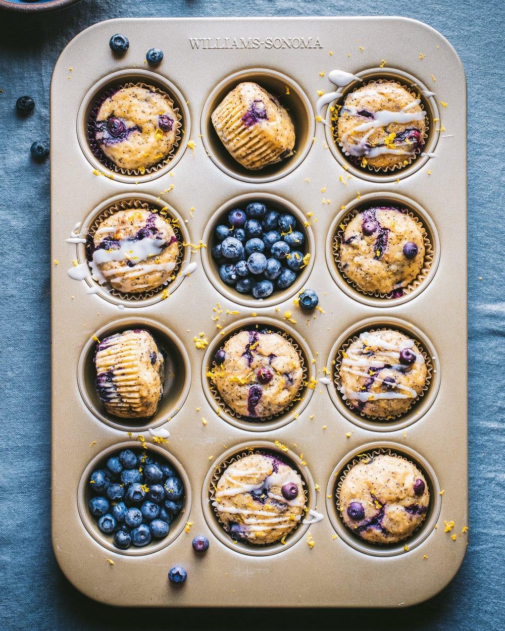 Vegan Blueberry Lemon Poppyseed Muffins