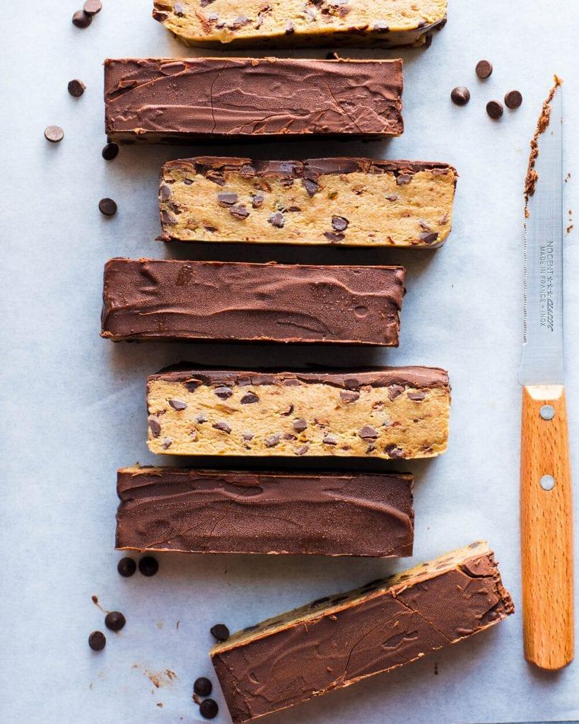 no-bake cookie dough bars food photography