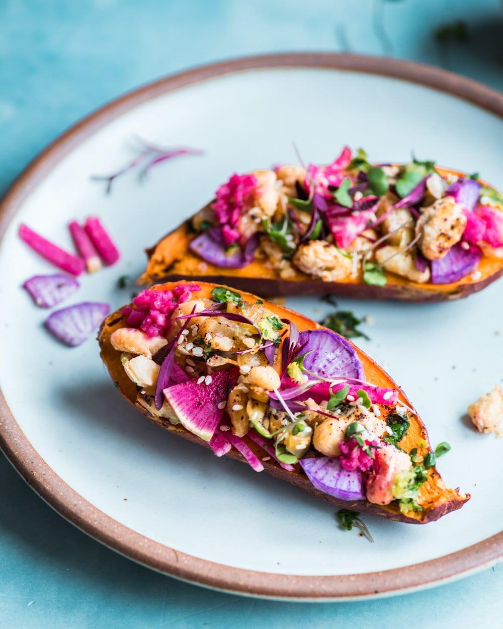 Za'atar White Bean Stuffed Sweet Potatoes