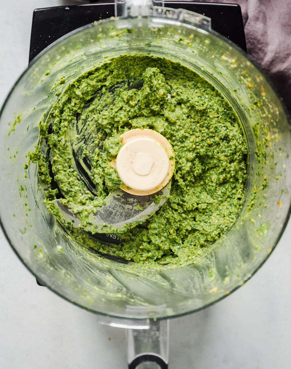 basil pesto blended in a food processor