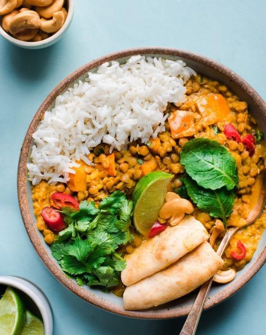 Instant Pot Butternut Squash Lentil Curry