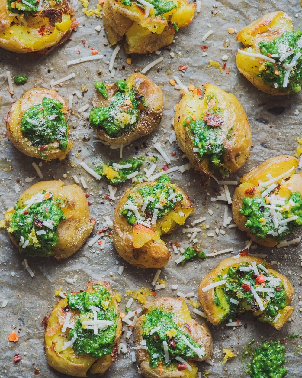 Crispy Smashed Potatoes with Cilantro Pesto