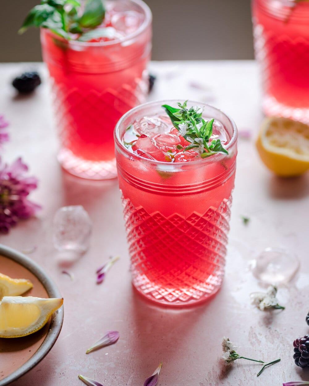 Healthy Blackberry Basil Lemonade. lemonade photography. drink photography.