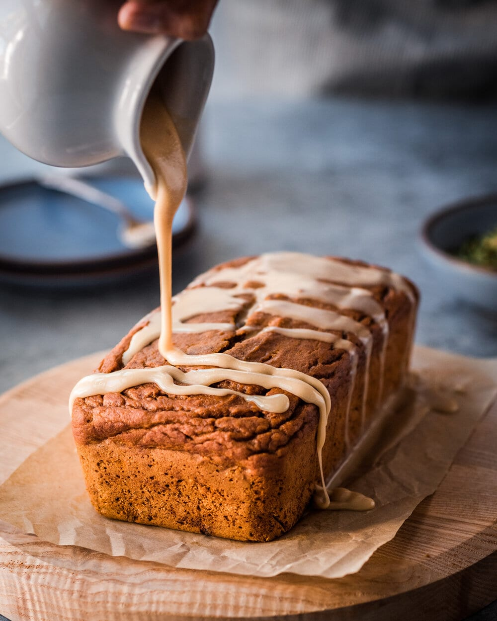 vegan pumpkin spice bread with icing