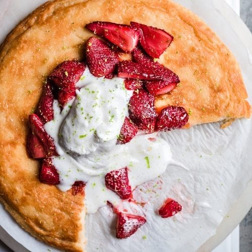 Vegan Dutch Baby with Roasted Strawberries
