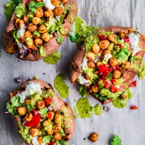 Tandoori Chickpea Stuffed Sweet Potatoes