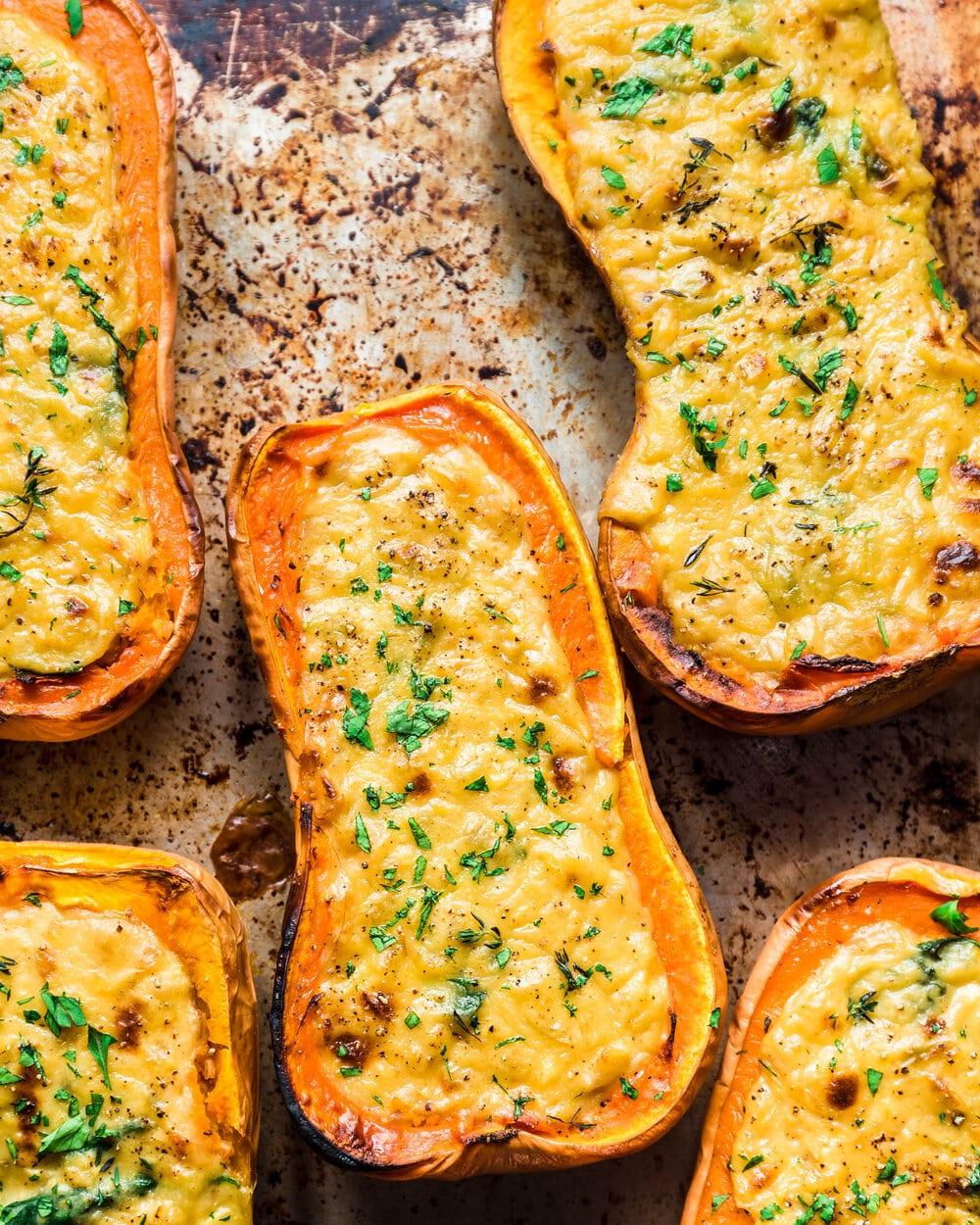Cheesy Baked Butternut Squash (Vegan)