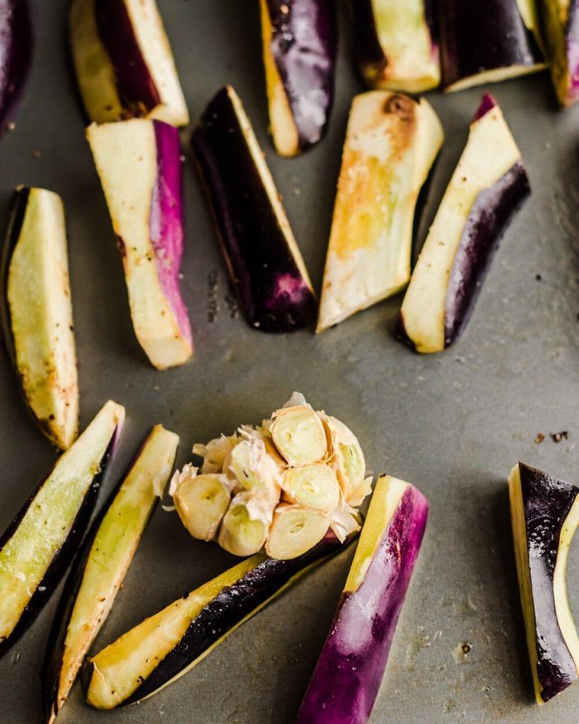 add garlic to sheet pan