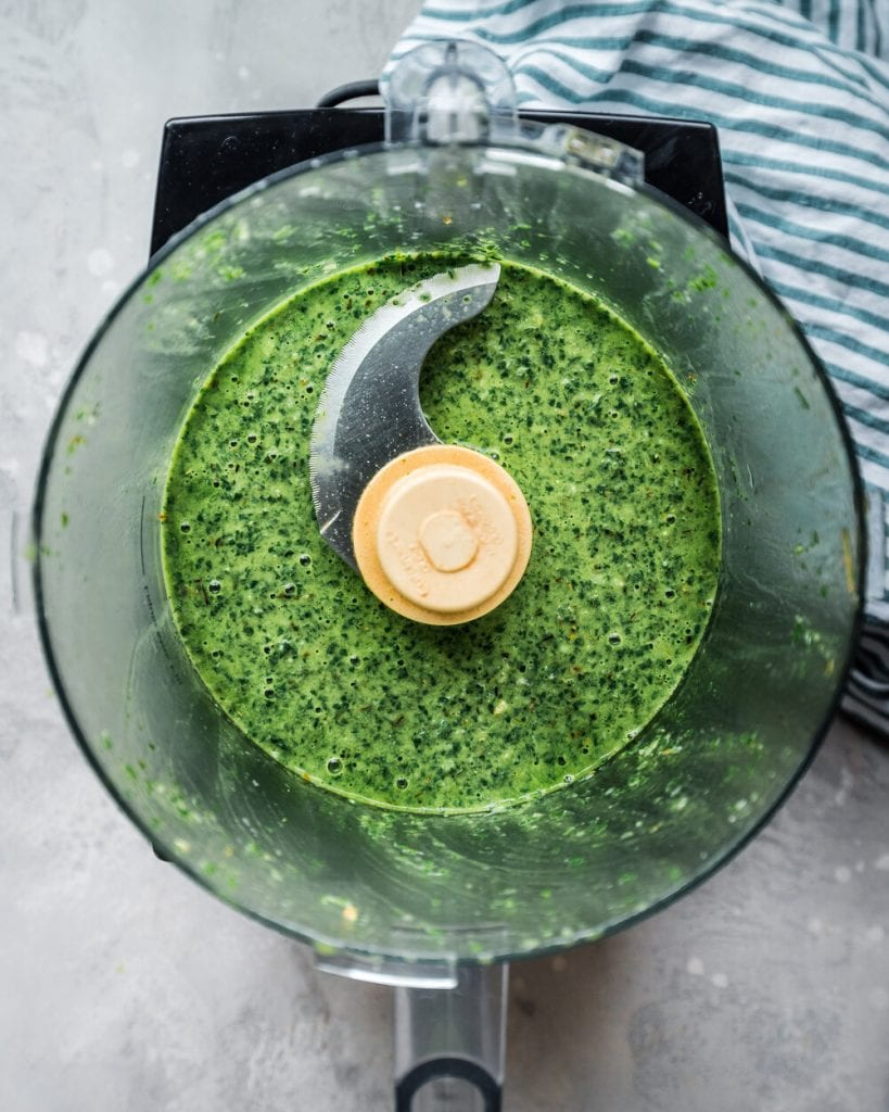basil sauce blended in food processor
