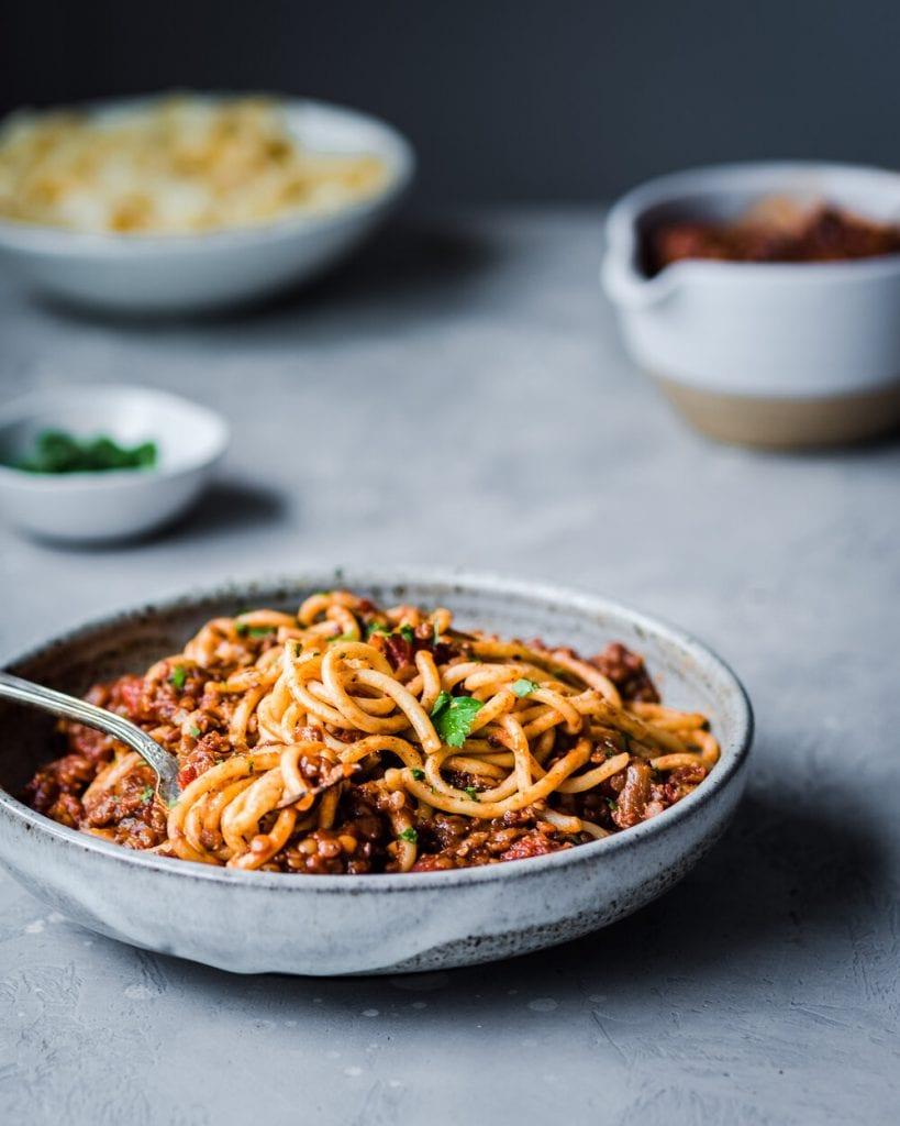 red lentil bolognese on a table