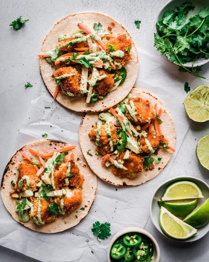 Crispy Spicy Cauliflower Tacos with Jicama-Carrot Slaw