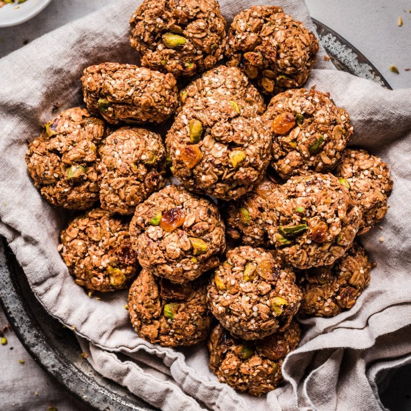 chai spiced breakfast cookies on a linen towel