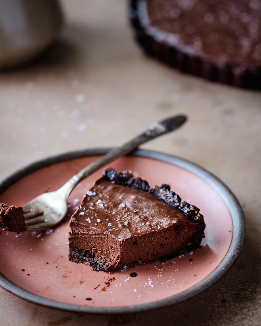 Salted Chocolate Cream Tart (VEGAN)