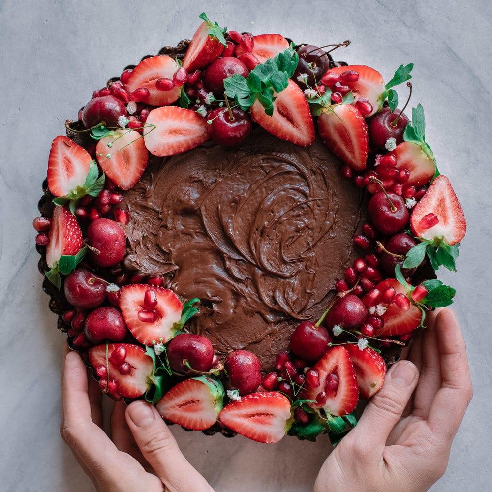Vegan salted caramel dark chocolate tart
