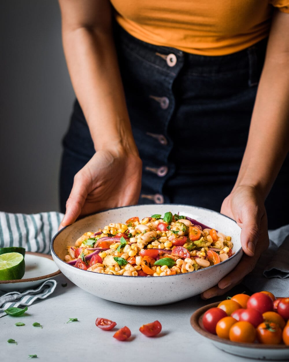 Charred Corn Salad with White Beans. corn salad food photography.
