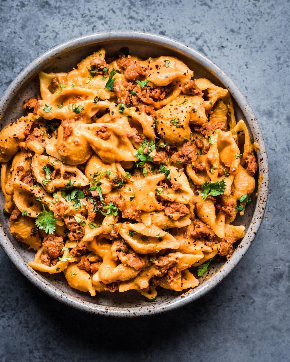 Creamy Chipotle Sweet Potato Pasta. vegan pantry pasta. Pasta food photography.